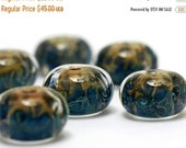 ON SALE 35% OFF On Sale 50 Percent Off Handmade Glass Lampwork Bead Set - Six Blue & Orange Rondelle Beads 10407501