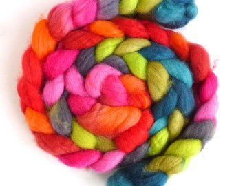 Superwash BFL Wool Roving - Hand Painted Spinning or Felting Fiber, Jolly and Spry