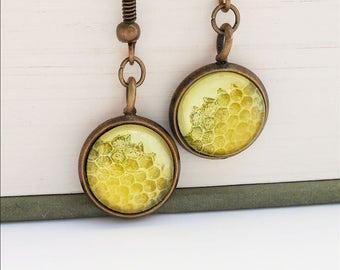 Honeycomb Natural History Earrings Dangle Hook Honey Bee Yellow Gold