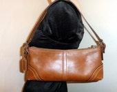 Coach wristlet clutch bag wallet small bag ,satchel  in deep  chestnut brown buttery glove tanned leather vintage