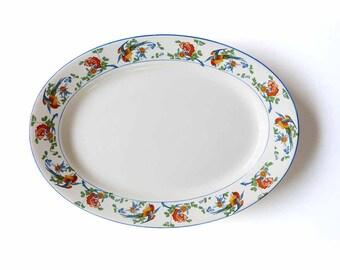 "Antique 1800s George Jones & Sons Crescent Ivory Golden Pheasant Large 16"" Oval Platter + Dinner Plate Transferware Staffordshire England"
