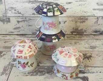 Mosaic Mushrooms - Garden Decor - Fairy House - Broken China Mosaic - Choice of Color Pink Purple