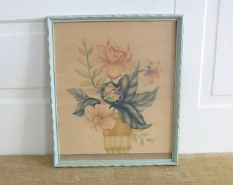 Vintage Floral Print, Pink Flowers Print, Vintage Pink Floral Print, Art Deco Print, Art Deco Floral Print, Shabby Cottage Chic Floral Print
