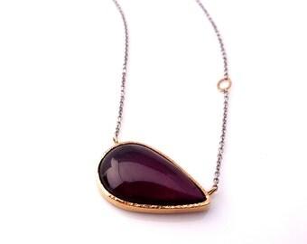 Garnet Necklace | READY to SHIP | Handmade w 14k Gold & Sterling Silver, Garnet Necklace, Birthstone necklace