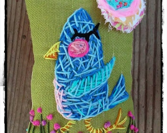 Darling Bluebird Hand Embroidered Pillow Ready to Ship YelliKelli