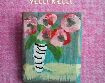 Brooch Hand Painted on Wood Ready to Ship YelliKelli Mothers Day