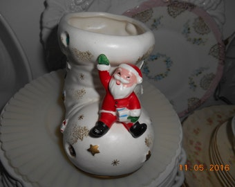 Vintage Porcelain Planter Christmas Shoe with little Santa Claus sitting on top Made in Japan