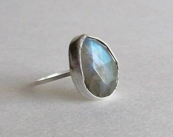 Light Blue Labradorite Ring - Size 7.5 Ring - Stacking Ring