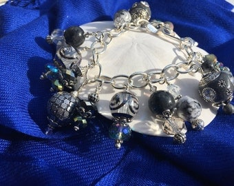 Handmade Chunky Grey Beaded Charm Bracelet, Custom Jewelry, Irish Expressions, Handmade Beaded Jewelry, One of a Kind Jewelry