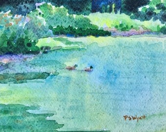 Original watercolor painting Green Light wall art by Paige Smith-Wyatt