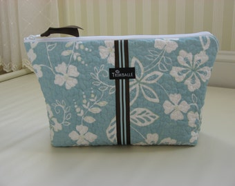 Large Cosmetic Bag, Quilted Cosmetic Bag, Waterproof Lining, Blue and White Floral Quilted Cotton
