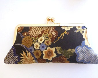 wallet clutch, cell phone wallet, Japanese fabric, makeup bag, pouch, Geisha, fall wedding, bridesmaid clutch, gift for her, hostess gift