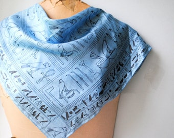 Egyptian revival vintage 90s , pastel blue silk scarf with a black abstract symbols print. The Metropolitan Museum of Art. Mint condition.