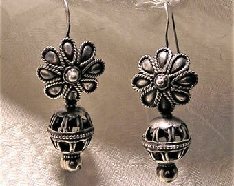 Vintage Pierced Silver Earrings with an Ethnic Boho Look. They are 2 1/4 Inches Long From the Top of the Hook to the Bottom.  (D12)