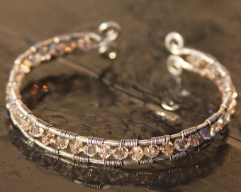 champagne swarovski crystal and sterling silver cuff bracelet