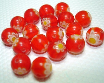 Red with Flower Millefiori Glass Round Beads (Qty 17) - B3322