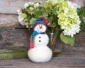 Needle Felt Snowman - Needle Felted Snowman - Christmas Snowman - Christmas Decoration - Christmas Decor -  Wool Snowman - Winter Décor -844