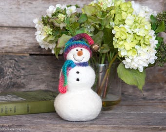 Needle Felt Snowman - Needle Felted Snowman - Christmas Snowman - Christmas Decoration - Christmas Decor -  Wool Snowman - Winter Décor -844