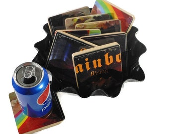 """Rainbow recycled Rising music album cover wood coasters with 12"""" vinyl record bowl set"""