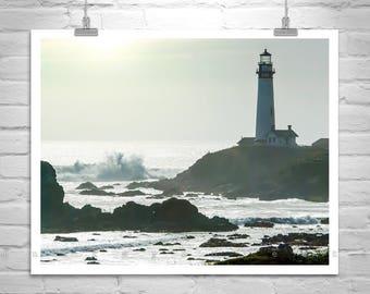 Lighthouse Art, California Coast, Pigeon Point, Ocean Photography, Seaside Art, Seascape Pictures, Lighthouse Photo, Ocean Art, Silhouette