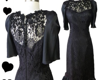 Vintage 80s Dress // Black Lace Ruffle Party Dress S 20s Flapper Jazz Age Great Gatsby Flutter Floral 80s Prom Dance Cocktail Flapper Glam