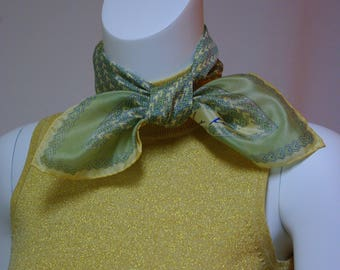 Anne Klein Scarf, Vintage Silk Scarf, Khaki and Moss Green Scarf, Chevron Design Scarf, Small Square Scarf, Robinson and Golluber Silk Scarf