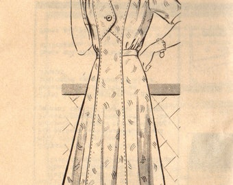 1940s Marian Martin 9759 FF Vintage Sewing Pattern Women's Dress Size 38 Bust 38