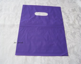 50 Plastic Bags, Gift Bags, Purple Bags, Glossy Bags, Shopping Bags, Party Favor Bags, Merchandise Bags, Retail Bags, Bags with Handles 9x12
