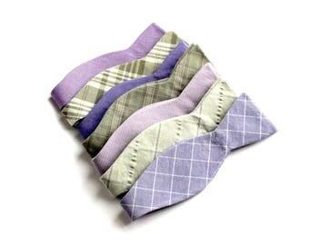 40 each - Mismatched Wedding Bow Ties - Groomsmen Bowties - Custom Wedding Bow Ties - Lavender & Sage Wedding Bow Ties - Made To Order