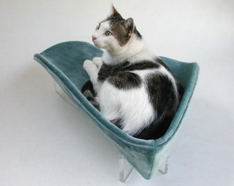 Retro modern pet bed boomerang in aqua teal velvet with acrylic