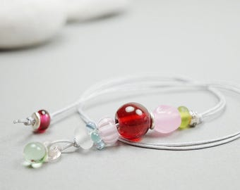 Cute Girly Necklace // Pink Glass Beads // Cute Girly // Gift Idea For Girls