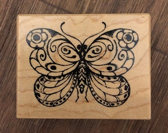 PSX Rare Wood Mounted Rubber Stamp. Butterfly.