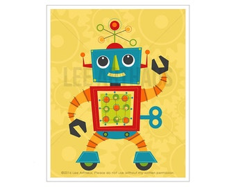 Robot Print - Robot 3 Wall Art - Baby Boy Room Wall Art - Robot Illustration - Robot Nursery Art - Robot Wall Art - Baby Robot Drawing