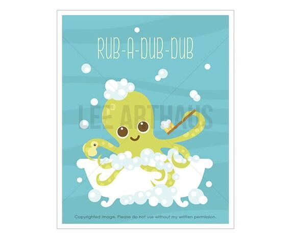 18T Octopus Print - Rub a Dub Dub - Green Octopus in Bubble Bath Wall Art - Funny Animal Art - Octopus Art - Art for Boys Bedroom - Bath Art
