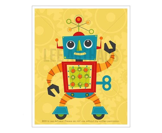 Robot Print - Robot 3 Wall Art - Baby Boy Room Wall Art - Robot Illustration - Robot Nursery Art - Robot Wall Art - Baby Robot Drawing
