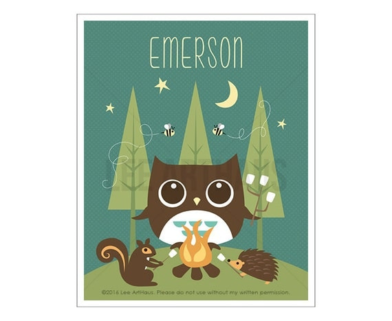 111P Owl Print - Personalized Owl Camping with Friends Wall Art - Custom Name Baby Boy Art - Owl Wall Art - Cabin Decor -Art for Children