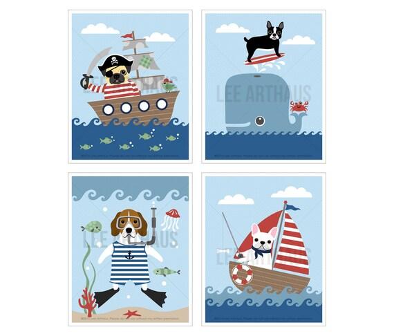 10S Dog Prints - Nautical Dog Nursery Print Set - Set of 4 Prints - Beach Theme Wall Art - Surfing Art - Whale Art - Pirate Ship Wall Art