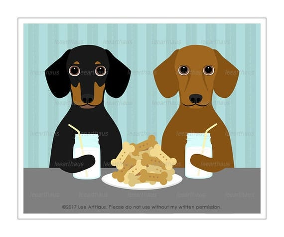 264D Dog Prints - Two Dachshunds Sharing Cookies and Milk Wall Art Print - Dachshund Print - Mason Jar Print - Milk and Cookies Wall Art