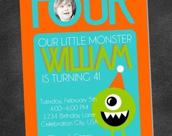 Little Monster Birthday Party Invite (digital printable file)