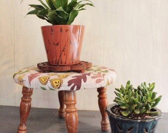 foot stool - round wooden stool with leaf print fabric seat