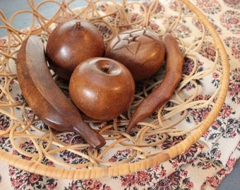 carved wooden fruit - mid century monkey pod wood fruit and veggies