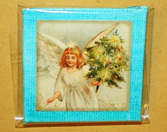 Christmas Angel Mini Canvas Magnet - Two Inch