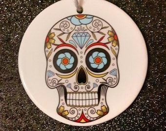 Sugar skull ceramic Christmas ornament