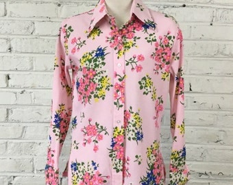 1970s Pink Floral Disco shirt (as is), size S