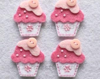 Cupcake Felt Applique, feltie, felties, handmade felty embellishment supply, hairclip, hair bow, assessories, scrapbooking, wholesale, bulk