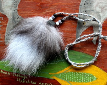 Real blue dyed Tundra fox tail fur necklace with braided cord and glass beads - simple nature jewelry for costumes, holidays, more