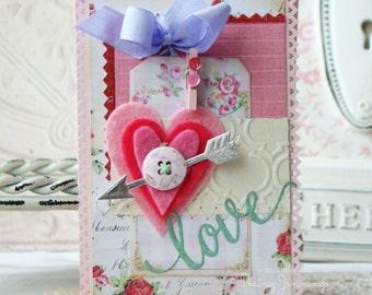 Love Shabby Chic Handmade Card -Valentine's Day Card - Valentine - Valentine's Day - Love Card - Greeting Card