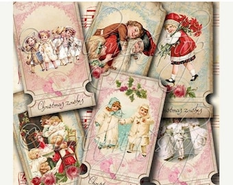 SALE CHRISTMAS WISHES TIcKets Collage Digital Images -printable download file-