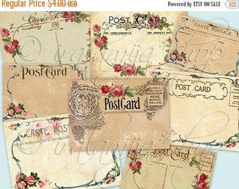 SALE POST CARDS Collage Digital Images -printable download file-