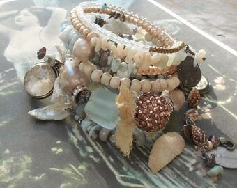 reserved for Sweet Karen...Down by the Sea Larimar Baroque Pearls Aquamarine BOHO Rosary Wrap Bracelet Goddess of the Sea